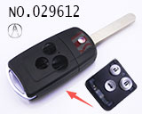 Acura 3-button remote folding key shell